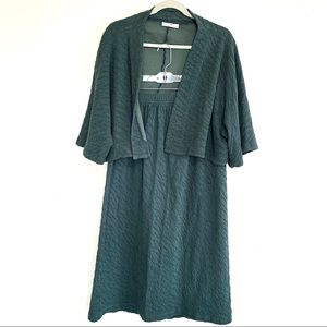 bryn Walker Skirts - Bryn Walker Teal Midi Skirt & Cardigan Sweater Set